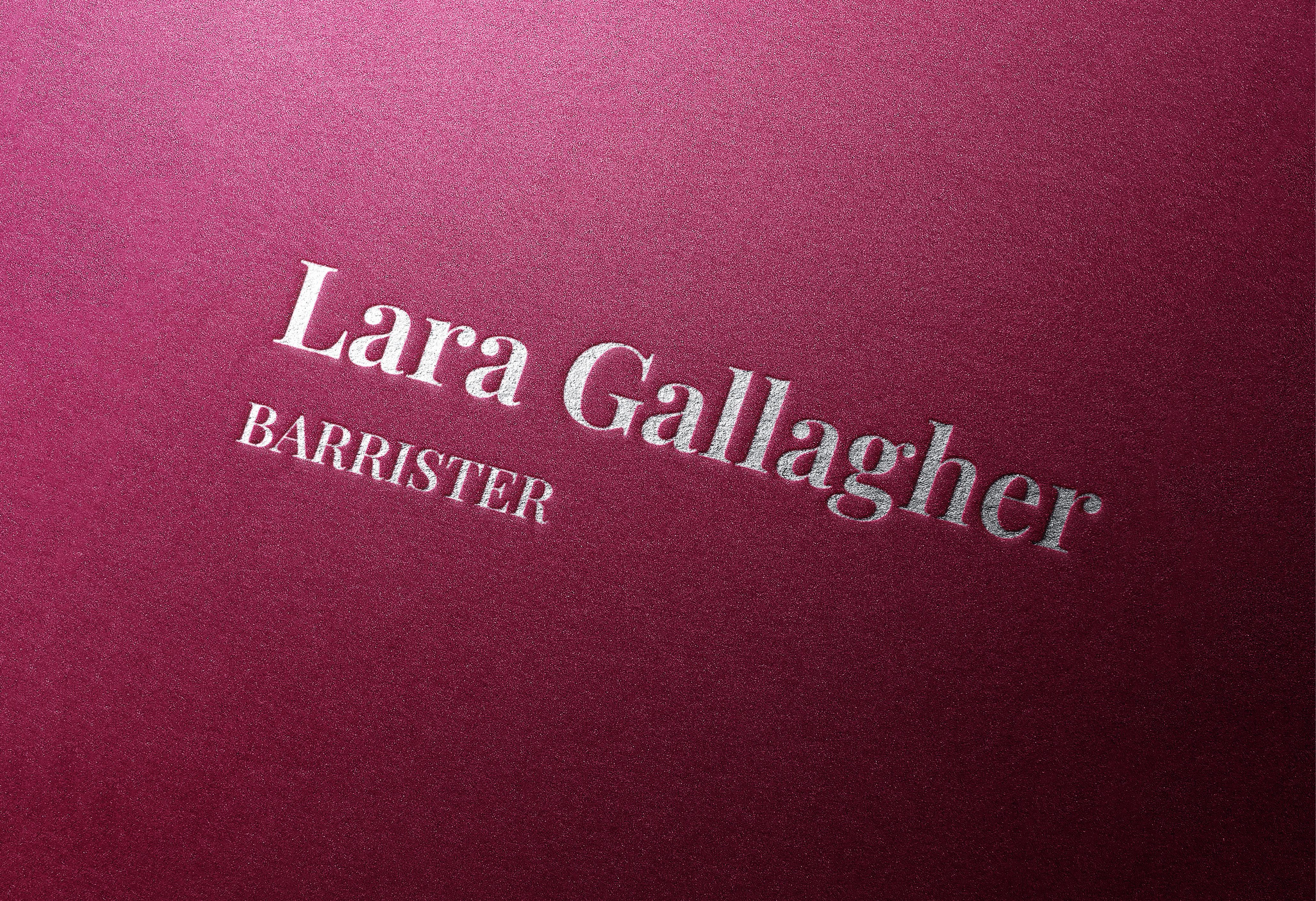 Lara Gallager logo embossed on leather