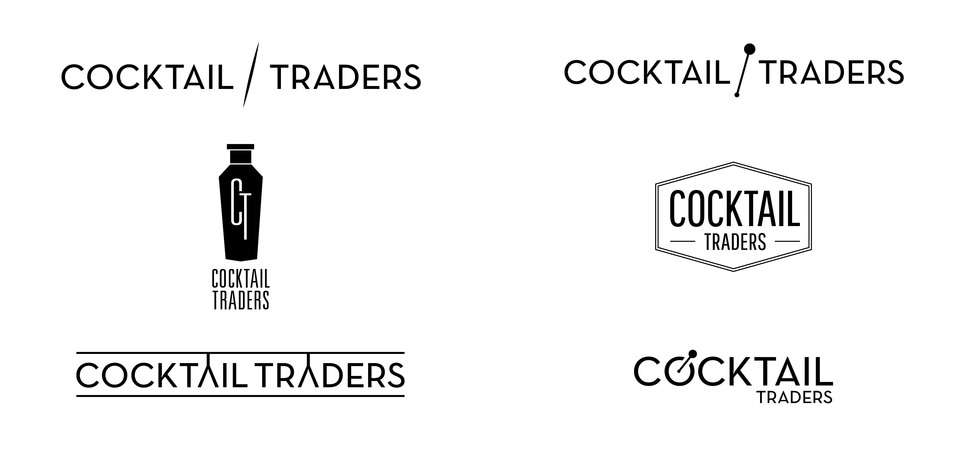 Logo concepts for the Cocktail Traders brand